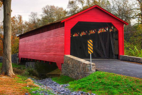 Monocacy Wall Art - Photograph - Maryland Country Roads - Utica Covered Bridge Over Fishing Creek No. 4 - Frederick County by Michael Mazaika