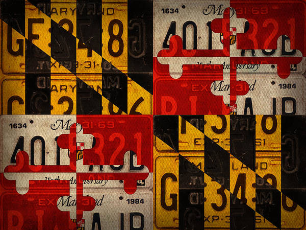 Wall Art - Mixed Media - Maryland State Flag Recycled Vintage License Plate Art by Design Turnpike