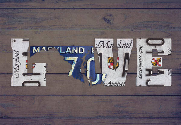 Maryland Mixed Media - Maryland State Love License Plate Art Phrase by Design Turnpike