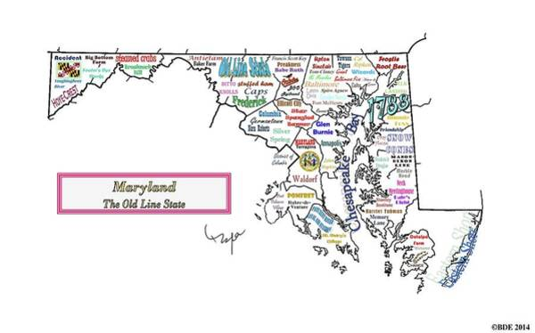 Mid Atlantic Digital Art - Maryland, The Old Line State by Byron Dane Ellis