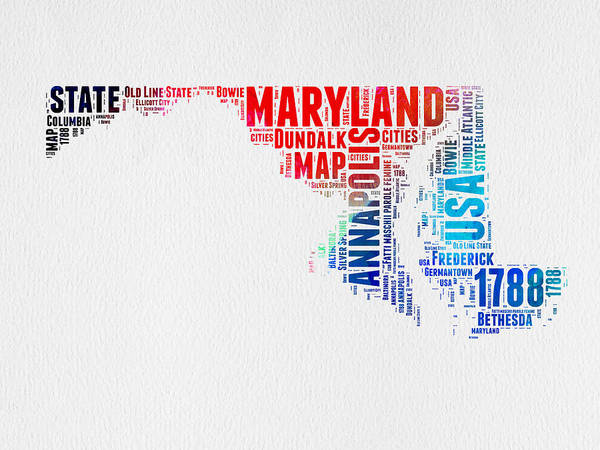 Map Art Mixed Media - Maryland Watercolor Word Cloud  by Naxart Studio