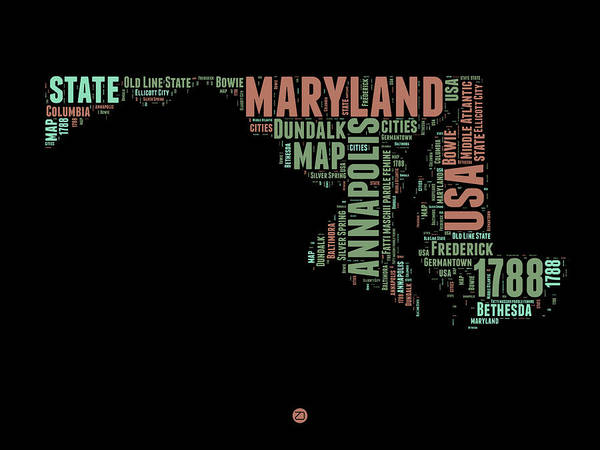 Map Art Mixed Media - Maryland Word Cloud 1 by Naxart Studio