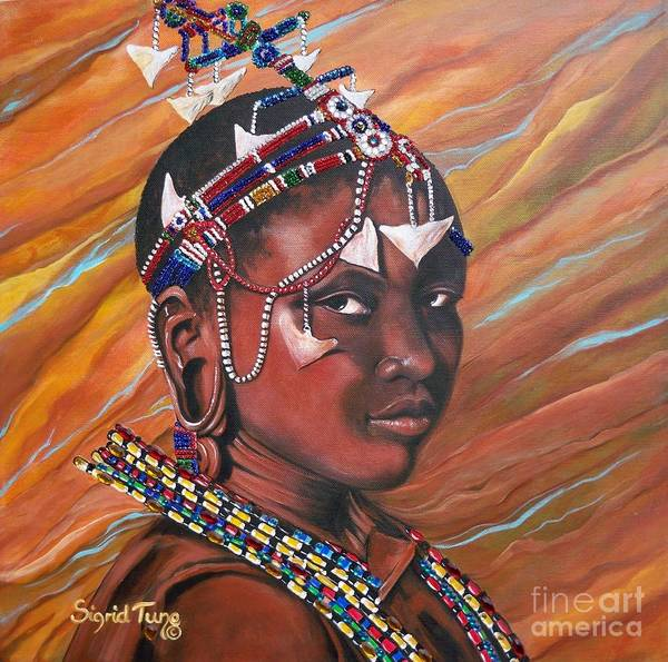 Mixed Media - Magnetizing  Masaai  Girl.           From The Attitude Girls  by Sigrid Tune