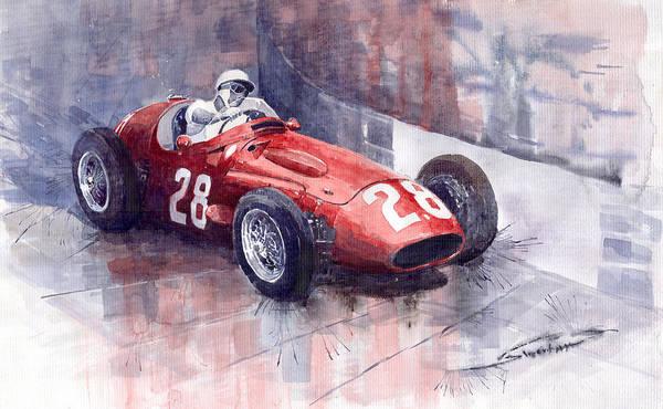 Sports Car Painting - Maserati 250 F Gp Monaco 1956 Stirling Moss by Yuriy Shevchuk