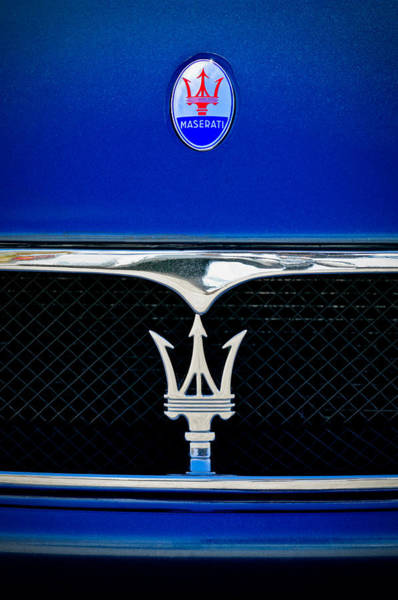 Exotic Car Photograph - Maserati Hood - Grille Emblems by Jill Reger