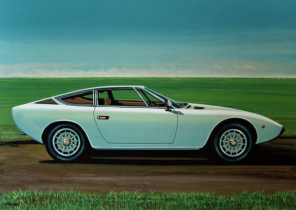 Oldtimer Wall Art - Painting - Maserati Khamsin 1974 Painting by Paul Meijering