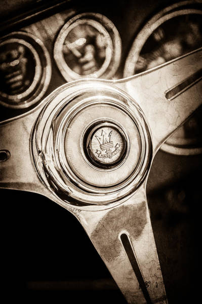Photograph - Maserati Steering Wheel Emblem -0443s by Jill Reger