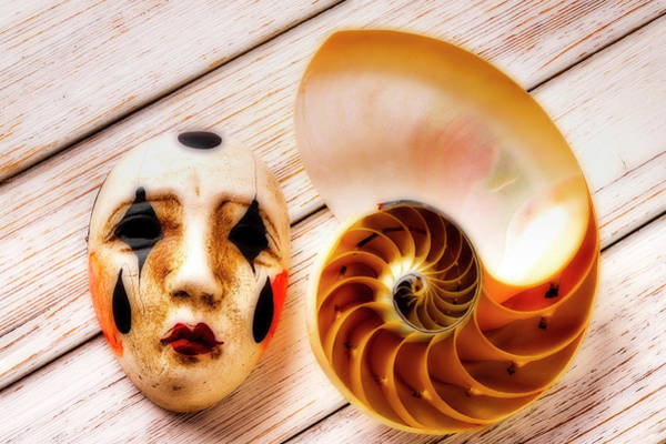 Wall Art - Photograph - Mask And Nautilus Shell by Garry Gay