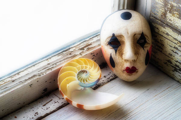 Wall Art - Photograph - Mask And Nautilus Shell In Window by Garry Gay