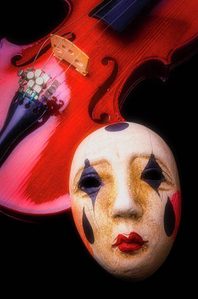 Bluegrass Photograph - Mask And Violin by Garry Gay
