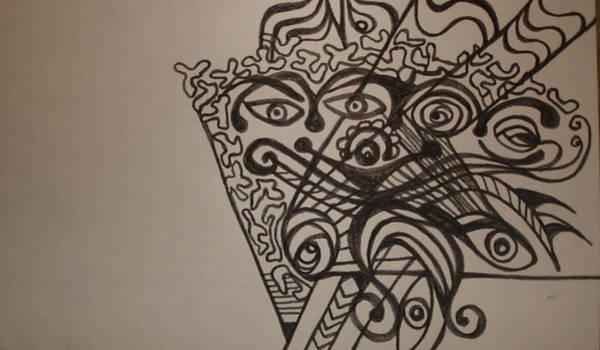 Oahu Drawing - Mask Fan by Erika Swartzkopf