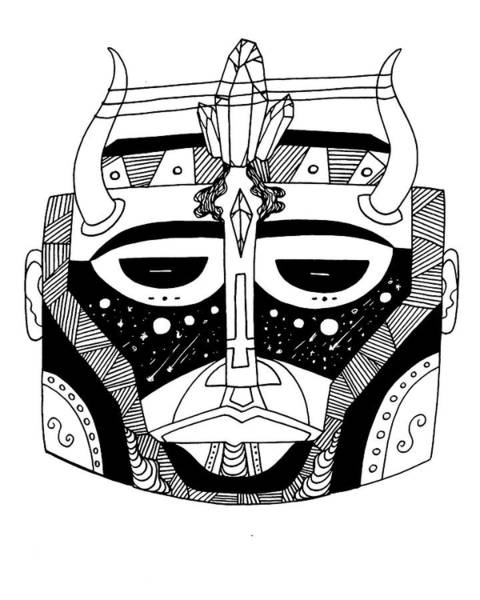 Drawing - Mask No.8 by Kenal Louis