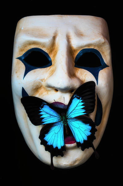 Wall Art - Photograph - Mask With Blue Butterfly by Garry Gay