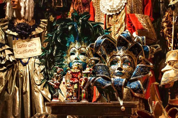 Digital Art - Impressions Of Venice - Venetian Carnival Masks Display by Georgia Mizuleva