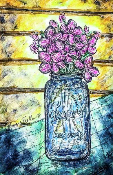 Painting - Mason Jar Bouquet by Monique Faella