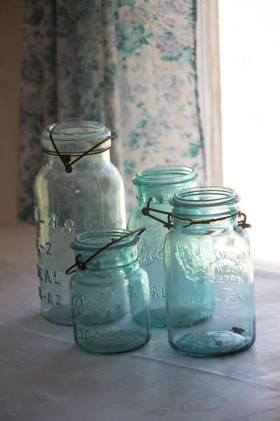 Photograph - Mason Jars In The Window by Teresa Wilson