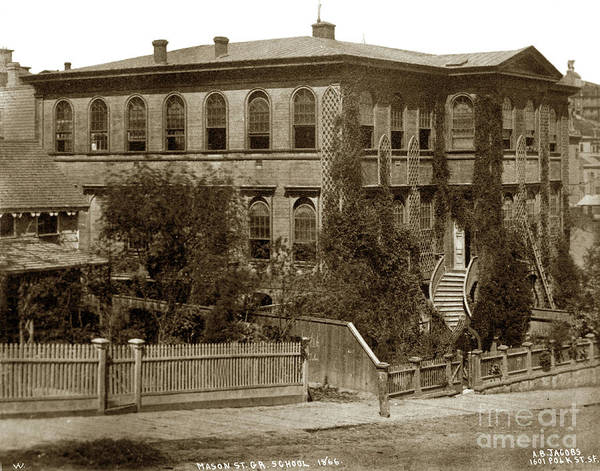 Photograph - Mason Street, Grammar School, San Francisco 1866 by California Views Archives Mr Pat Hathaway Archives