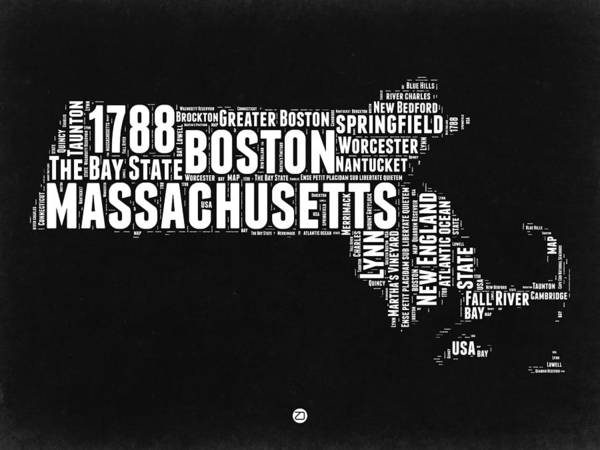 Wall Art - Digital Art - Massachusetts Black And White Word Cloud Map by Naxart Studio