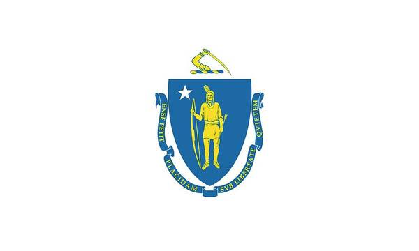 Yellow Ribbon Painting - Massachusetts State Flag by American School