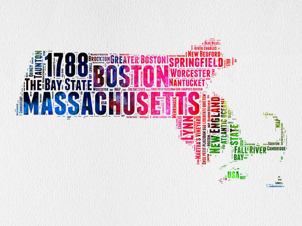 Wall Art - Digital Art - Massachusetts Watercolor Word Cloud Map  by Naxart Studio