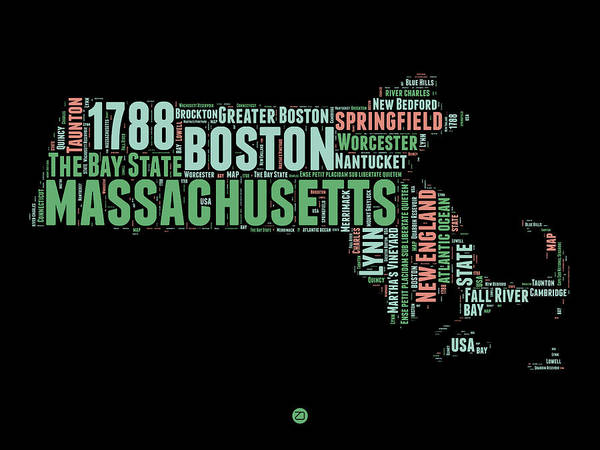 Wall Art - Digital Art - Massachusetts Word Cloud Map 1 by Naxart Studio