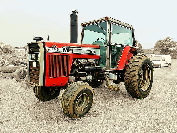 Vintage Tractor Painting - Massey Ferguson Classic Tractor Ready To Work by Elaine Plesser