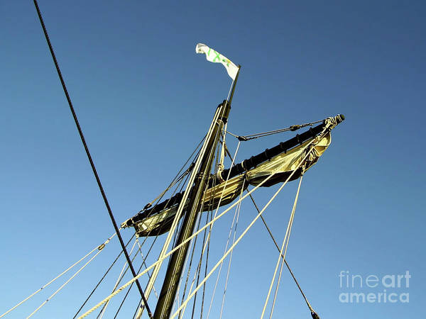 Floating Museum Photograph - Mast And Sail Of The Nina by D Hackett