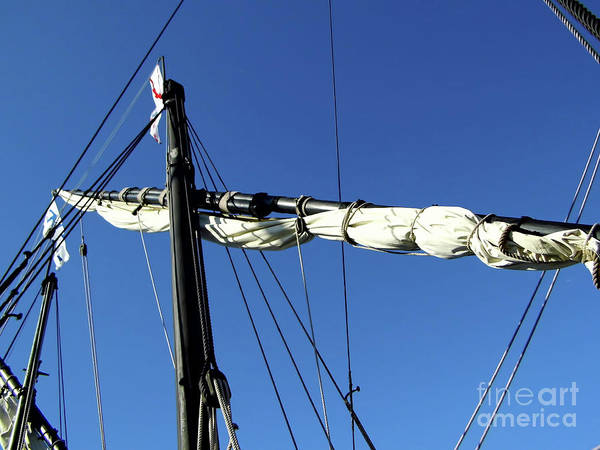Floating Museum Photograph - Mast And Sail On The Nina by D Hackett