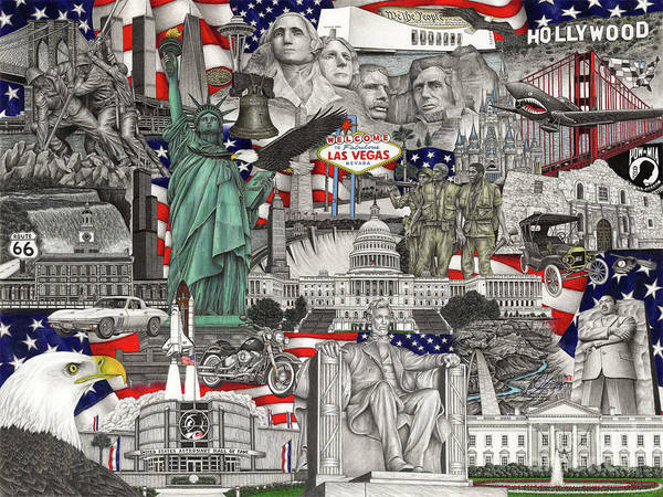 Twin Towers Drawing - Masterpiece America by Omoro Rahim