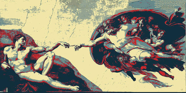 Digital Art - Masterpieces Revisited - Creation Of Adam By Michelangelo by Serge Averbukh