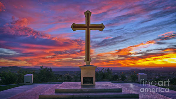 Christian Cross And Amazing Sunset Art Print