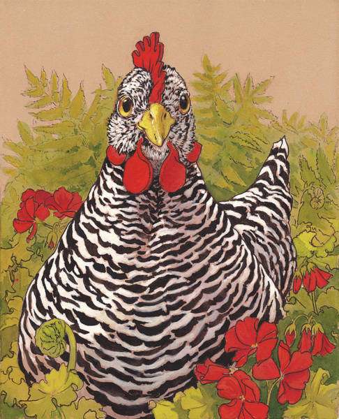 Hen Painting - Matilda In The Geraniums by Tracie Thompson