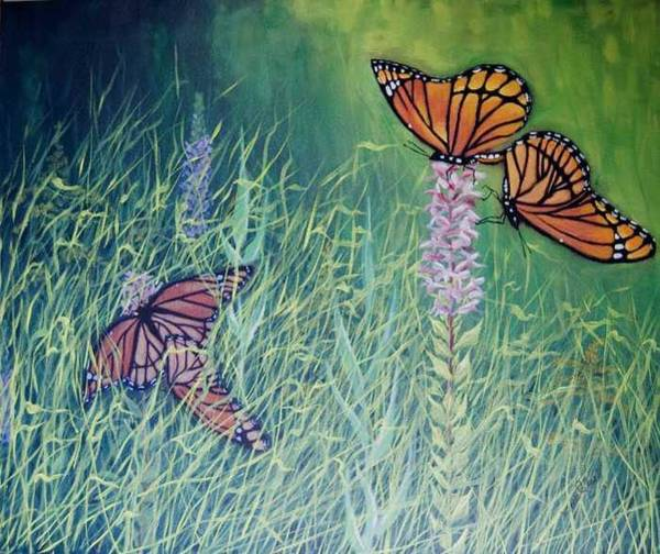 Painting - Mating Season-monarchs by Wade Clark
