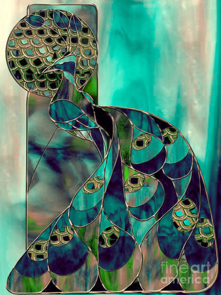 Peacocks Painting - Mating Season Stained Glass Peacock by Mindy Sommers
