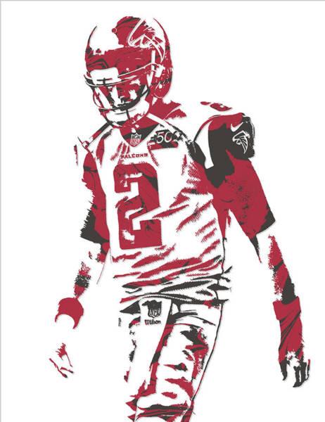 Atlanta Falcons Mixed Media - Matt Ryan Atlanta Falcons Pixel Art 8 by Joe Hamilton