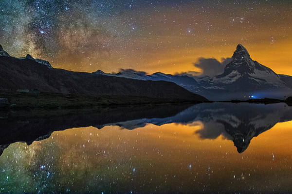 Photograph - Matterhorn Milky Way Reflection by Ralf Rohner