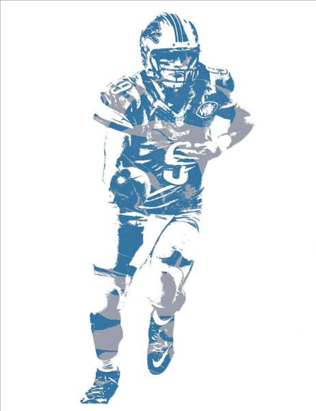Lion Mixed Media - Matthew Stafford Detroit Lions Pixel Art 20 by Joe Hamilton