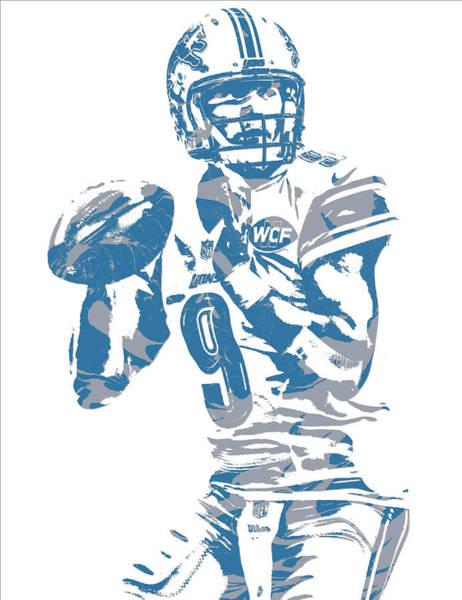 Lion Mixed Media - Matthew Stafford Detroit Lions Pixel Art 21 by Joe Hamilton