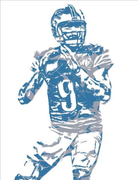 Lion Mixed Media - Matthew Stafford Detroit Lions Pixel Art 5 by Joe Hamilton