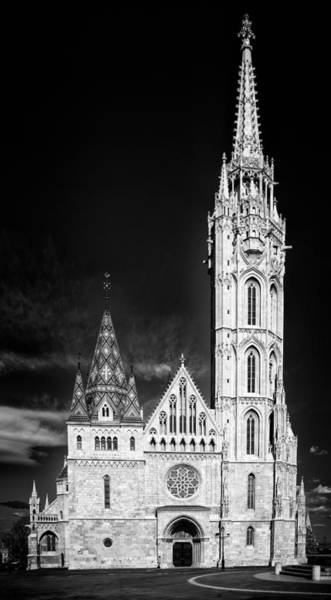 Photograph - Matthias Church Budapest Black And White by Matthias Hauser