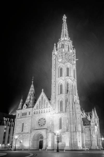 Wall Art - Photograph - Matthias Church Budapest Hungary Night Bw by Joan Carroll