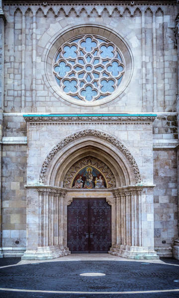 Photograph - Matthias Church Rose Window And Portal by Joan Carroll