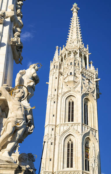 Photograph - Matthias Church Steeple And Trinity Column Budapest by Matthias Hauser