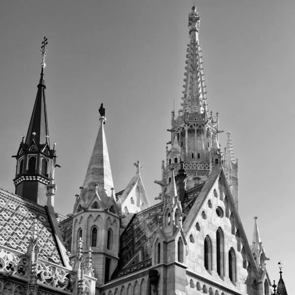 Photograph - Matthias Church Steeples Budapest Black And White by Matthias Hauser