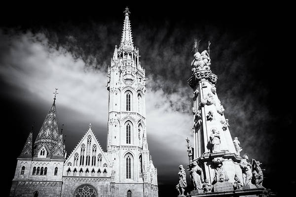 Photograph - Matthias Church With Trinity Column Budapest Black And White by Matthias Hauser
