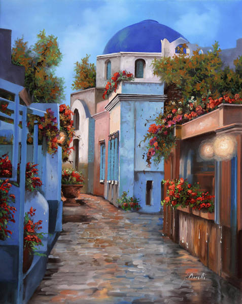 Blue And White Painting - Mattina In Grecia by Guido Borelli