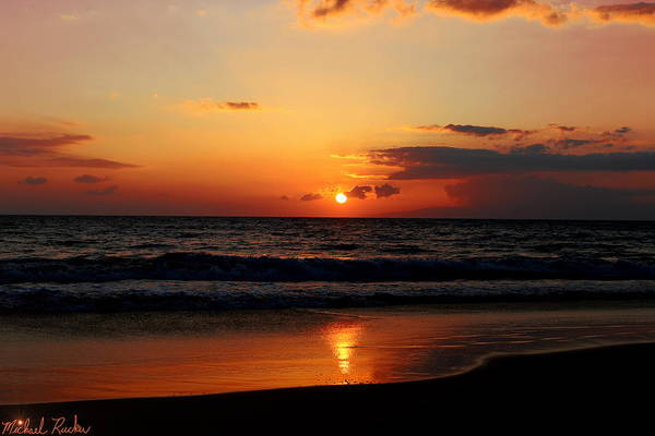 Ocean Sunrise Wall Art - Photograph - Maui Beach At Sunset by Michael Rucker