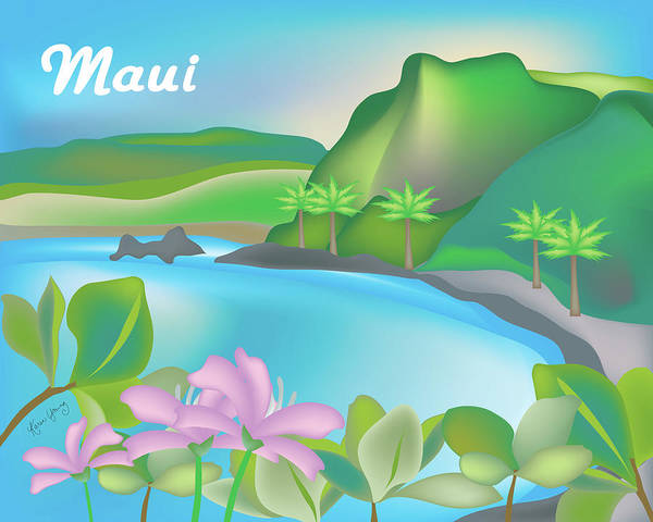 Hana Digital Art - Maui Hawaii Horizontal Scene by Karen Young