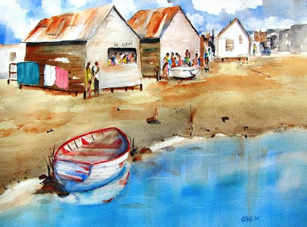 Painting - Mauricio's Village - Beach Huts by Carlin Blahnik CarlinArtWatercolor