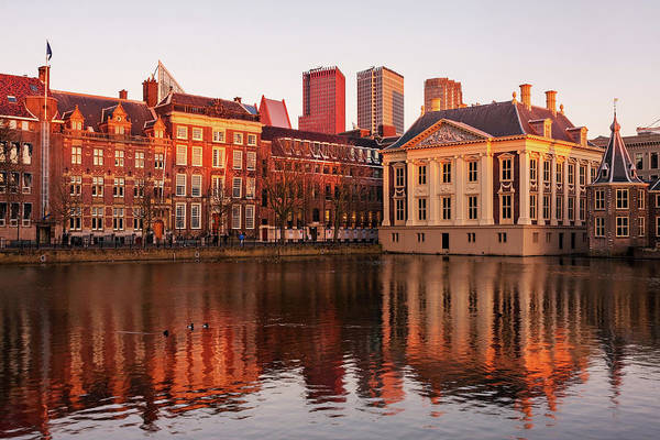 Photograph - Mauritshuis And Hofvijver At Golden Hour - The Hague by Barry O Carroll